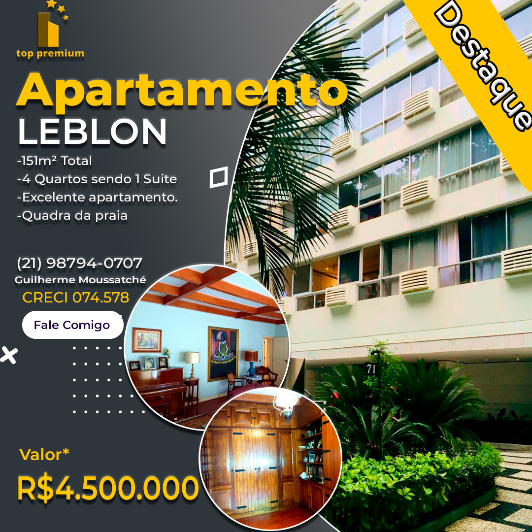 Top Apartamento no Leblon (na quadra da praia)