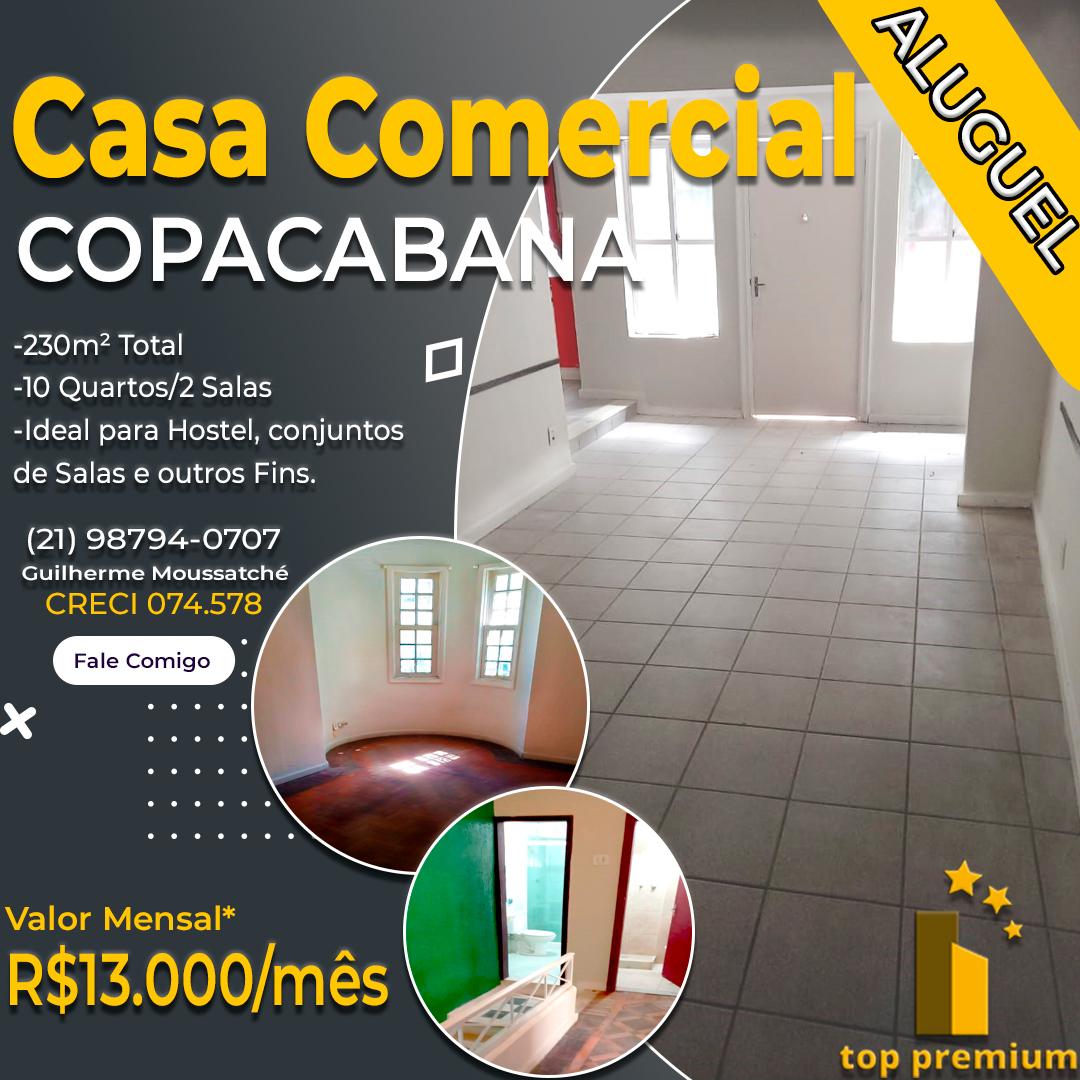 Alugo Casa Comercial ou Residencial em Copacabana